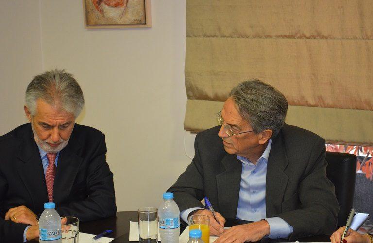 Ο πρόεδρος της Διεπαγγελματικής κ. Γιώργος Ντούτσιας και ο γενικός γραμματέας του υπουργείου κ. Αντώνογλου.